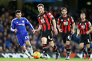 Dan Gosling of Bournemouth passing the ball. Barclays Premier league match, Chelsea v AFC Bournemouth at Stamford Bridge in London on Saturday 5th December 2015.<br /> pic by John Patrick Fletcher, Andrew Orchard sports photography.