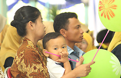 November 1, 2018 - Madiun, East Java, Indonesia - Seen the expression on the face of a small child while attending the Indonesian Prosperous Toddler Competition in the Gradi Young Hall of Madiun Regency. The competition that carries the theme ''I Love Healthy. Come on, Healthy Living Starts From Us'' followed by 52 toddlers from various villages in Madiun Regency. (Credit Image: © Ajun Ally/Pacific Press via ZUMA Wire)