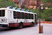 Shuttle bus at the Temple of the Sinawava, Zion National Park, Utah.
