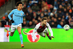 Callum Chambers of Arsenal heads back to the goalkeeper under pressure from Leroy Sane of Manchester City - Mandatory by-line: Matt McNulty/JMP - 25/02/2018 - FOOTBALL - Wembley Stadium - London, England - Arsenal v Manchester City - Carabao Cup Final
