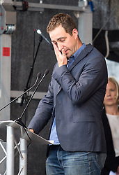 © Licensed to London News Pictures. 22/06/2016. London, UK. Brendan Cox attends a vigil in Trafalgar Square to celebrate the life of MP Jo Cox, who was shot and stabbed in Birstall, West Yorkshire, last Thursday (16 June). Today would have been her 42nd birthday. Tributes are planned in New York, Paris, London and in Mrs Cox's home constituency. Photo credit : Tom Nicholson/LNP