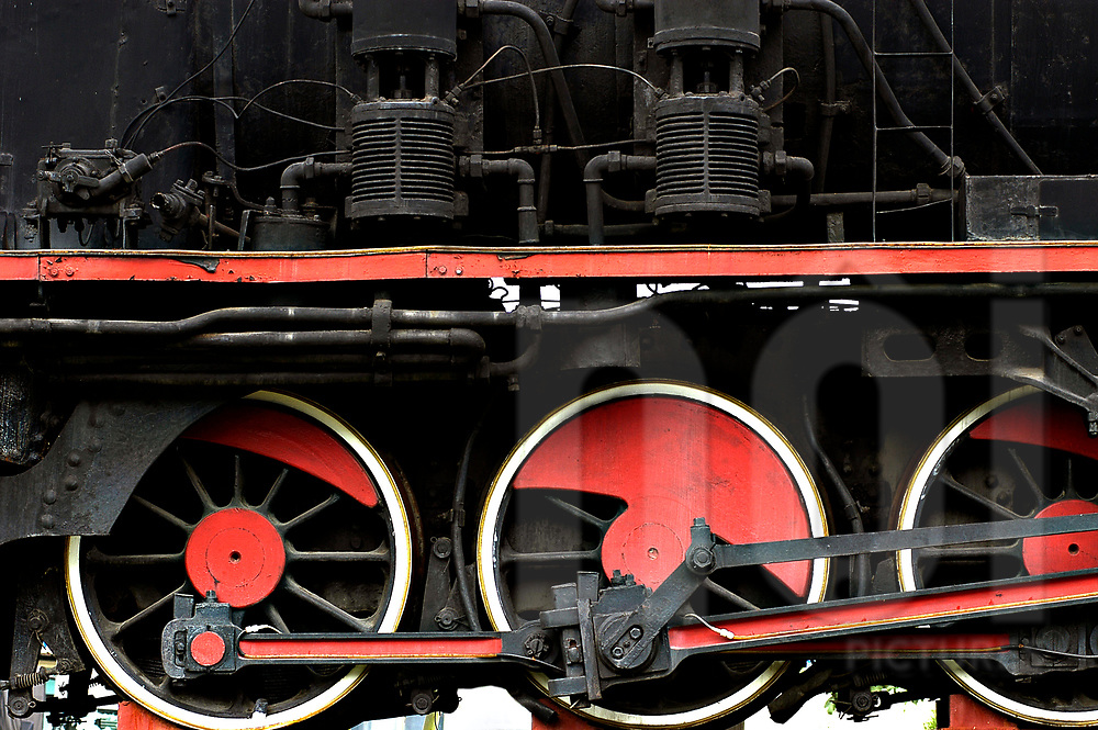 Wheels of a steam engine in Ho Chi Minh train station, Vietnam, Southeast Asia