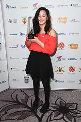 Alice Tai wins Youth Sport Trust Young Sports Person of the Year at the third Lycamobile British Ethnic Diversity Sports Awards BEDSAs, held at the Park Lane Hilton Hotel, London