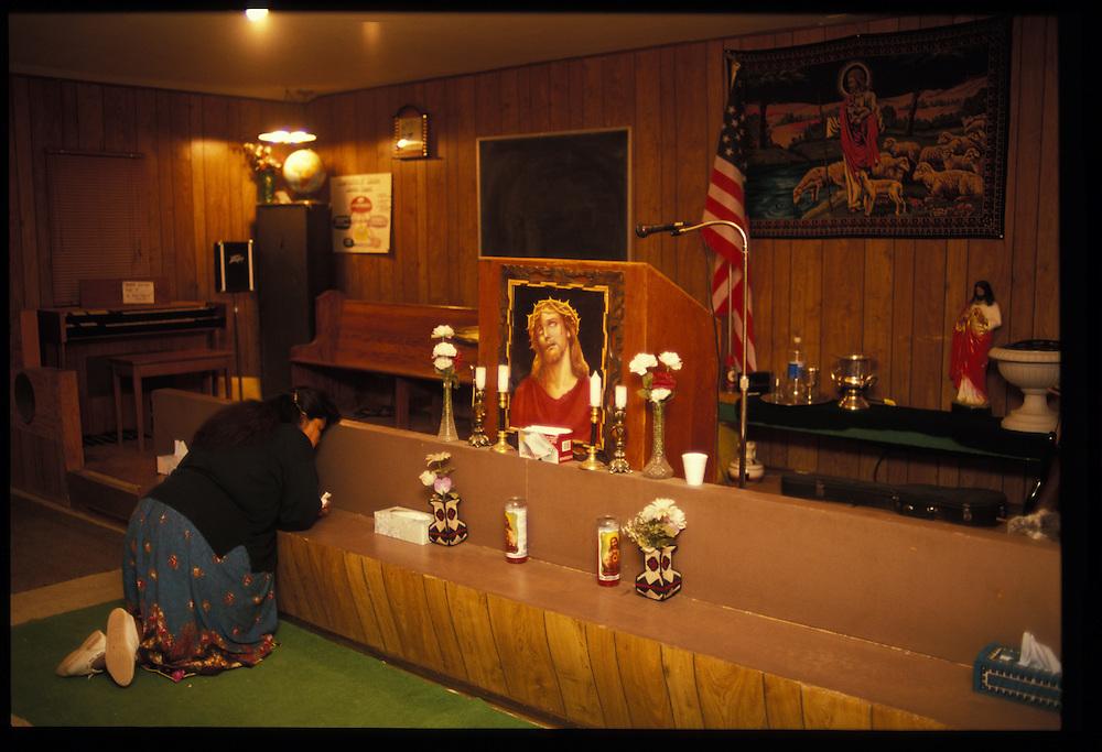 Monday-night service at Eugene Chee Sr's. Oljeto United Methodist Church.  1993