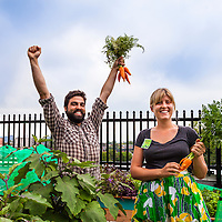 Justin Nadeau and Brooke Ziebell in the rooftop garden at Brock St. school.