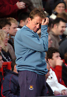 Photo: Tony Oudot.<br />Charlton Athletic v West Ham United. The Barclays Premiership. 24/02/2007.<br />West Ham manager Alan Curbishley looks dejected after seeing the third goal conceded