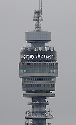 © Licensed to London News Pictures. 09/09/2015.  London, UK. The BT Tower carries a message for Queen Elizabeth II  'Long May She Reign'. Today Queen Elizabeth II becomes the United Kingdom's longest serving monarch as he passes Queen Victoria's 23,226 days on the throne.  Photo credit: Peter Macdiarmid/LNP