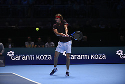 November 14, 2017 - London, England, United Kingdom - Alexander Zverev of Germany  plays in the singles match against Roger Federer of Switzerland on day three of the Nitto ATP World Tour Finals at O2 Arena, London on November 14, 2017. (Credit Image: © Alberto Pezzali/NurPhoto via ZUMA Press)