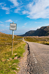 Passing place on single track road at Applecross Peninsula in Scotland part of North Coast 500 tourist road trip