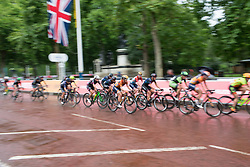 Christine Majerus (LUX) of Boels-Dolmans Cycling Team cheks her teammates in the penultimate lap of the Prudential Ride London Classique - a 66 km road race, starting and finishing in London on July 29, 2017, in London, United Kingdom. (Photo by Balint Hamvas/Velofocus.com)