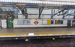 © Licensed to London News Pictures. 19/03/2020. London, UK. An empty platform inside Bow Road tube station in London which closed this morning. Transport for London (TfL) are closing a number of underground stations from today, as partial closure of the tube and rail network begins in response to the growing coronavirus outbreak in the captial. Photo credit: Vickie Flores/LNP
