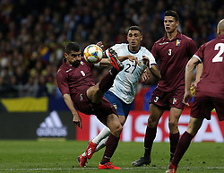 March 22, 2019 - Madrid, Madrid, Spain - Venezuela's Tomas Eduardo Rincon and Argentina's Suarez are seen in action during the International Friendly match between Argentina and Venezuela at the wanda metropolitano stadium in Madrid. (Credit Image: © Manu Reino/SOPA Images via ZUMA Wire)