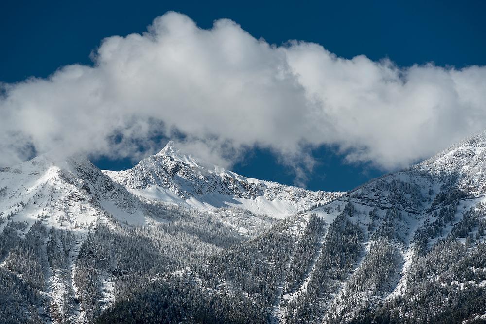 Fresh snow on Sawtooth Peak, Wallowa Mountains, Oregon.