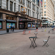 Manhattan streets remain sparse to both visitors and traffic in front of the Macy's department store during the Coronavirus (Covid-19) pandemic on Tuesday, January 19, 2021 in Manhattan, New York. (Alex Menendez via AP)