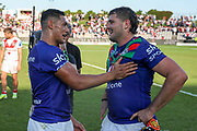 Roger Tuivasa-Sheck and Josh Curran post-game after beating the Dragons. St George Dragons v Vodafone Warriors. NRL Rugby League, Netstrata Jubilee Stadium, Sydney, NSW, Australia, Sunday 18th April 2021 Copyright Photo: David Neilson / www.photosport.nz