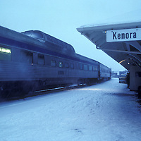 Canada, Ontario, Kenora, VIA Rail passenger train in snowstorm at train station in western Ontario