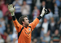 Photo: Lee Earle.<br /> Queens Park Rangers v Cardiff City. Coca Cola Championship. 21/04/2007.QPR keeper Lee Camp celebrates their win in the direction of the Cardiff supporters.