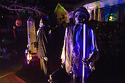 """A skeleton in Chris Baker's haunted yard in South Yarmouth, MA. Every year Baker sets up an elaborate Halloween display in his yard and on Halloween, neighborohood residents walk through his frightening """"vortex"""" of horror while trick or treating."""