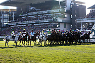 Horses line up for the start of the 5:15pm The Randox Health Grand National Steeple Chase (Grade 3) 4m 2f during the Grand National Meeting at Aintree, Liverpool, United Kingdom on 6 April 2019.