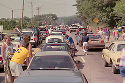 Heading to the Grateful Dead at Foxboro Stadium Concert on 2 July 1989. Street jam of Deadheads.