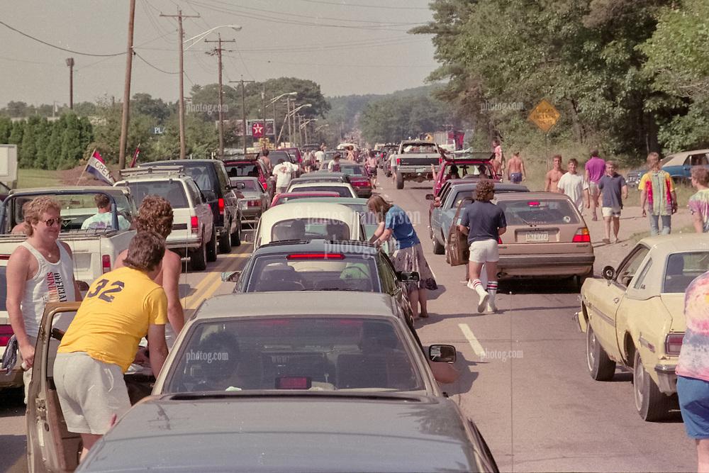 Heading to the Grateful Dead at Foxboro Stadium Concert on 2 July 1989. Street jam of Deadheads.