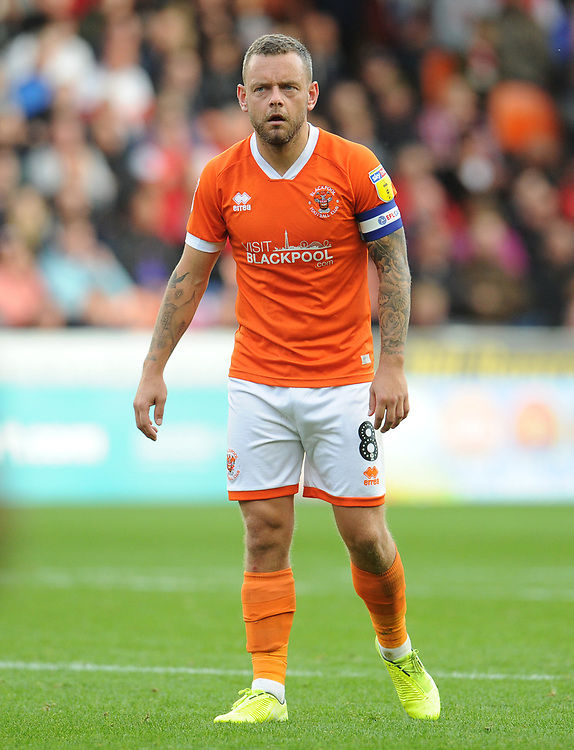 Blackpool's Jay Spearing<br /> <br /> Photographer Kevin Barnes/CameraSport<br /> <br /> The EFL Sky Bet League One - Blackpool v Rotherham United - Saturday 12th October 2019 - Bloomfield Road - Blackpool<br /> <br /> World Copyright © 2019 CameraSport. All rights reserved. 43 Linden Ave. Countesthorpe. Leicester. England. LE8 5PG - Tel: +44 (0) 116 277 4147 - admin@camerasport.com - www.camerasport.com