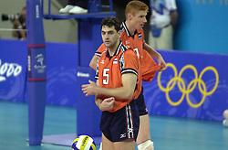 21-09-2000 AUS: Olympic Games Volleybal Nederland - Brazilie, Sydney<br /> Nederland verliest met 3-0 van Brazilie / Bas van de Goor, Guido Gortzen