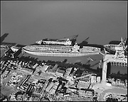 """Ackroyd 15100-1 """"Schnitzer Steel products. Aerial of plant. Bow of Popeye. January 27, 1968"""" (NW Portland waterfront)"""