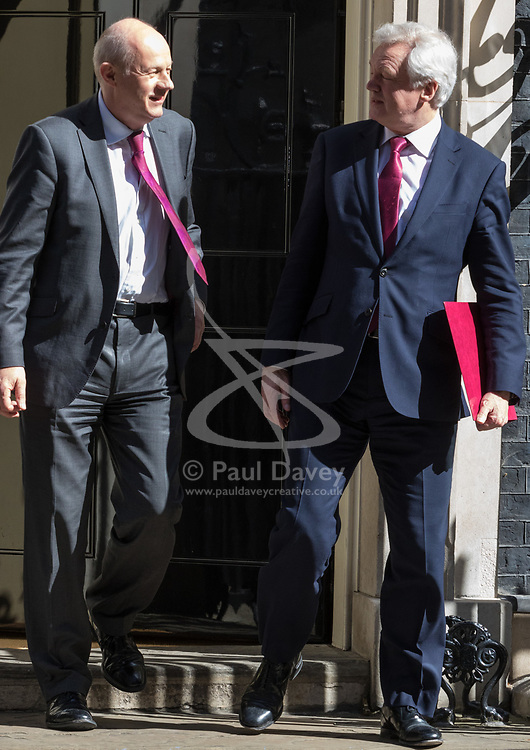 Downing Street, London, April 25th 2017. Work and Pensions Secretary Damian Green (left) and Secretary of State for Exiting the European Union David Davis leave the weekly cabinet meeting at 10 Downing Street in London. Credit: ©Paul Davey