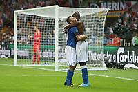 Football - European Championships 2012 - Germany vs. Italy<br /> Antonio Cassano of Italy celebrates Mario Balotelli's second goal at the National Stadium, Warsaw