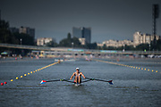 Plovdiv BULGARIA. 2017 FISA. Rowing World U23 Championships. <br /> USA BM1X. James FRANCIS, Bridge and Plovdiv City skline in the background.<br /> Wednesday. PM,  Heats 17:37:23  Wednesday  19.07.17   <br /> <br /> [Mandatory Credit. Peter SPURRIER/Intersport Images].