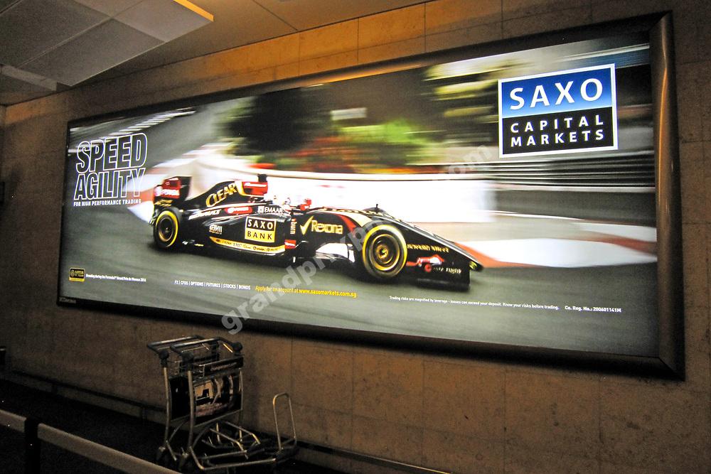 Saxo Bank advertising in Changi Airport before the 2014 Singapore Grand Prix in Marina Bay. Photo: Grand Prix Photo