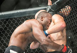 Leon Edwards of Jamaica fights Pawel Pawlak of Poland in their welterweight fight during the UFC Fight Night event at UFC Glasgow on Saturday, July 18 at The SSE Hydro, Glasgow. The UFC Fight Night 72 event was the first the promotion had been hosted in Scotland.