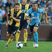 Matthew Crowell (left) and Steve Corica in action during the Sydney FC V Central Coast Mariners A-League match at the Sydney Football Stadium, Sydney, Australia, 23 December 2009. Photo Tim Clayton