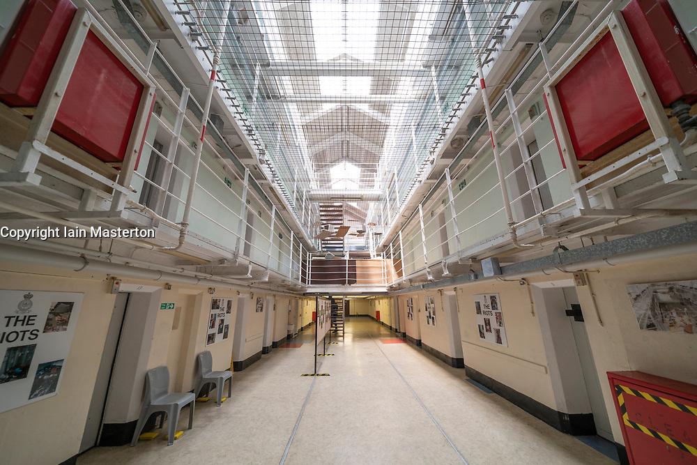 Interior view of former prisoner hall at Peterhead Prison Museum in Peterhead, Aberdeenshire, Scotland, UK