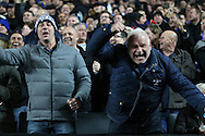 Chelsea fans celebrating during the second half as their team lead 1-5. The Emirates FA cup, 4th round match, MK Dons v Chelsea at the Stadium MK in Milton Keynes on Sunday 31st January 2016.<br /> pic by John Patrick Fletcher, Andrew Orchard sports photography.