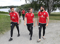 STOCKHOLM, SWEDEN - Sunday, June 5, 2016: Wales' Hal Robson-Kanu, Joe Allen and Joe Ledley during a pre-match walk at the Royal Park Hotel ahead of the international friendly match against Sweden. (Pic by David Rawcliffe/Propaganda)