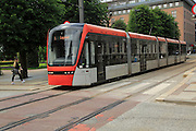 Light rail city transport system in city centre at Byparken stop, Bergen, Norway destination Laguna