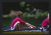 Lucerne, SWITZERLAND.  [RDA] DDR W2- Bow Kathrin HAAKER1988  Lucerne International Regatta, Lake Rotsee. June 1988 [Mandatory Credit - Peter Spurrier/Intersport Images] 1988 Lucerne International Regatta