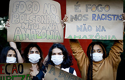 August 23, 2019, SãO Paulo, Brazil: SÃO PAULO, SP - 23.08.2019: ATO EM FAVOR DA AMAZÔNIA EM SP - A group of activists act on Friday afternoon (23) in the free space of Masp, in support of the environment and against the burning that is occurring in the Amazon. (Credit Image: © Aloisio Mauricio/Fotoarena via ZUMA Press)