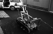 Bomb Disposal Robot.   (J97)..1975..29.12.1975..12.29.1975..29th December 1975..At Clancy Barracks,Dublin the Irish army put on display their newly aquired Bomb Disposal Robot. It would be invaluable in inspecting suspect buildings or vehicles. The series of pictures shows the army demonstration of the equipment.