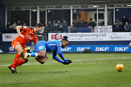 Peterborough Utd forward Ivan Toney (17) is fouled on the edge of the box during the EFL Sky Bet League 1 match between Luton Town and Peterborough United at Kenilworth Road, Luton, England on 19 January 2019.