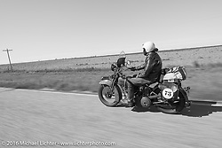 Greg McFarland riding his 1926 Harley-Davidson JD during Stage 8 of the Motorcycle Cannonball Cross-Country Endurance Run, which on this day ran from Junction City, KS to Burlington, CO., USA. Saturday, September 13, 2014.  Photography ©2014 Michael Lichter.