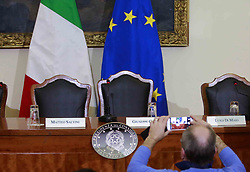 Italy, Caserta -  November 19, 2018.A protocol of understanding on the 'Land of Fires' toxic-waste fire area near Naples (Campania region) signed in Caserta..Premier Giuseppe Conte and deputy Premier Luigi Di Maio attend a press conference. The Interior Minister Matteo Salvini, did not attend   the conference for a dinner at the Quirinale palace (Credit Image: © Stefano Renna/Ropi via ZUMA Press)