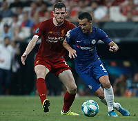 ISTANBUL, TURKEY - AUGUST 14: Andrew Robertson (L) of Liverpool and Pedro of Chelsea vie for the ball during the UEFA Super Cup match between Liverpool and Chelsea at Vodafone Park on August 14, 2019 in Istanbul, Turkey. (Photo by MB Media/Getty Images)