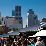Kansas City Missouri farmer's market on Saturday morning, River Market area of downtown Kansas City.