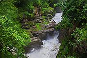 A waterfall at Parvati River in Parvati valley in Kullu, Himachal Pradesh, India