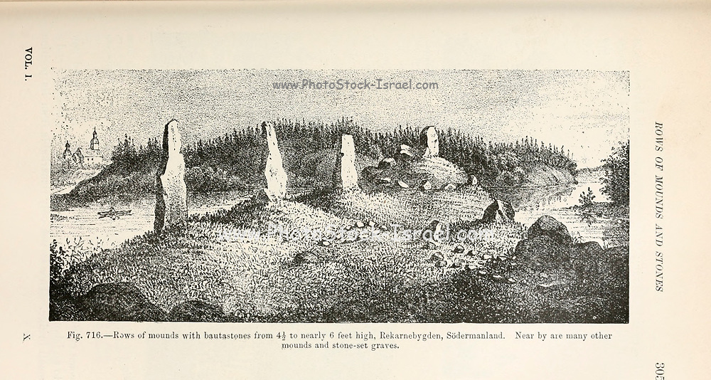Viking Burial site from the book '  The viking age: the early history, manners, and customs of the ancestors of the English speaking nations ' by Du Chaillu, (Paul Belloni), 1835-1903 Publication date 1889 by C. Scribner's sons in New York,