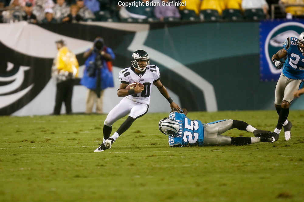 8 August 2008: Philadelphia Eagles wide receiver DeSean Jackson #10 avoids Carolina Panthers safety Nate Salley #25 during the game against the Carolina Panthers on August 14, 2008. The Eagles beat the Panthers 24 to 13 at Lincoln Financial Field in Phialdelphia, Pennsylvania.