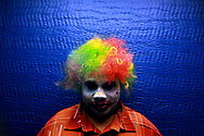 """Reginald Miller, 17, loves performing as a crazy dancing clown with the ministry team at New Life World Ministries. """"It's part of who I already am...just break out dancing in the middle of no where...Everything I do, I do for God's glory, nothing is for myself,"""" he said."""